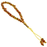 33 Count Islamic Orange and Yellow Rosary Prayer Beads Tasbih with Allah and Muhammad Inscription