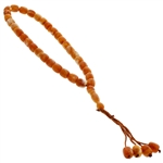 33 Count White and Orange Islamic Rosary Prayer Beads Tasbih