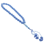 33 Count Sky Blue Islamic Rosary Prayer Beads Tasbih with Horizontal Silver Stripes