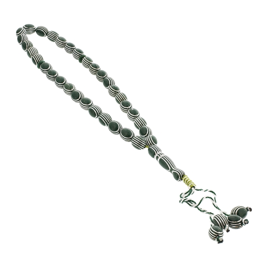 33 Count Forest Green Islamic Rosary Prayer Beads Tasbih with Horizontal Sliver Stripe Design