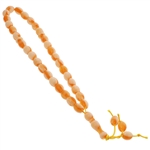 33 Count Tranlucent Orange and White Marbled Design Islamic Rosary Prayer Beads Tasbih