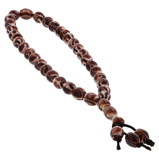 33 Count Islamic Brown and White Rosary Prayer Beads misbaha
