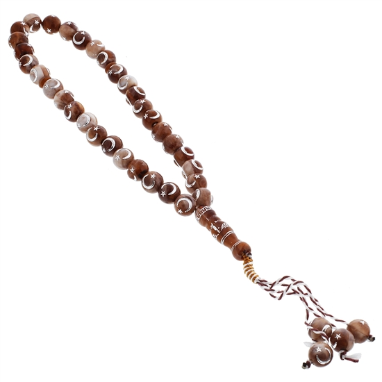 33 Count Translucent Brown and white Marbled Rosary Prayer Beads Tasbih with Star and Crecent Design