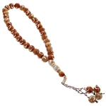 33 Count Translucent Brown Islamic Rosary Prayer Beads Tasbih with Star and Crecent Design