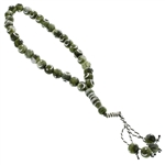 33 Count Forest Green Islamic Prayer Beads Tasbih with Silver Star and Crescent