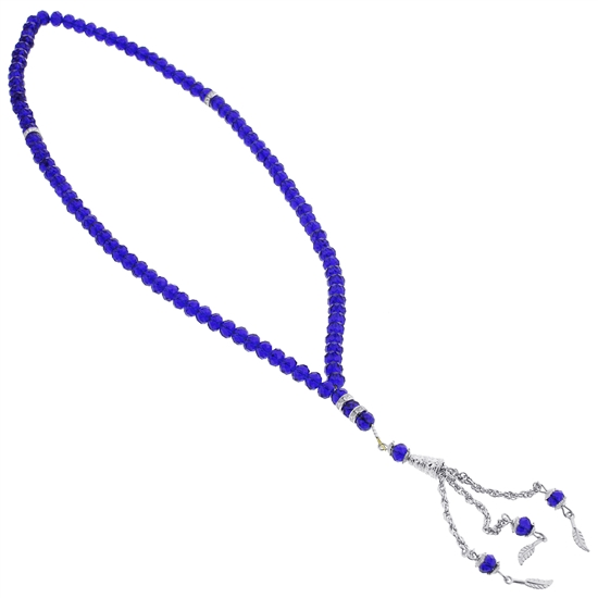 99 Count Dark Blue Islamic Rosary Prayer Beads Tasbih with Silver Colored Tassle