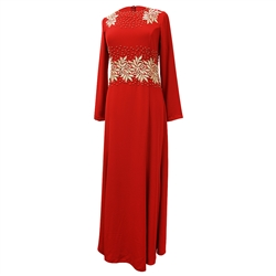 Bright Red Abaya Long Maxi Formal Dress