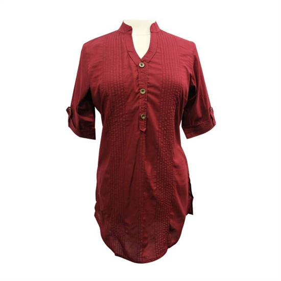 Dark Burgundy with pleated effect design Tunic Top Sleeves