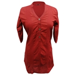 Red Women's Short Sleeve Tunic Top with Stitched Patterns