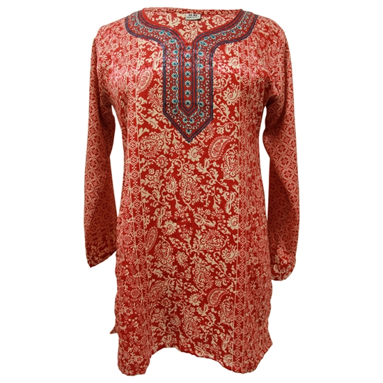 Red and Gold Jacquard Print Women's Short Sleeve Tunic Top Kurti with Red Crest