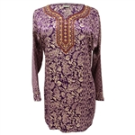 Purple and Tan Jacquard Print Women's Short Sleeve Tunic Top Kurti with Red Crest