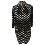 Black and Tan Polka Dot Women's Collared Short Sleeve Tunic Top