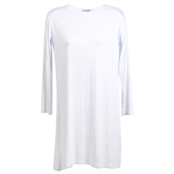 Plain White Long Sleeve Women's Short Sleeve Tunic Top T-Shirt