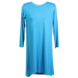 Sky Blue Long Sleeve Women's Short Sleeve Tunic Top T-Shirt