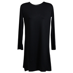 Plain Black Long Sleeve Women's Short Sleeve Tunic Top T-Shirt