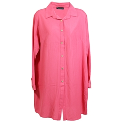 Bubblegum Pink Yellow Women's Long Sleeve Collared Tunic Top Shirt