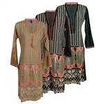 Low Cut Embroidered Long Sleeve Kurti Tunic Top with Intricate Patterns