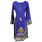 Intricately Embroidered Long Sleeve and Tail Collarless Kurti Tunic Top