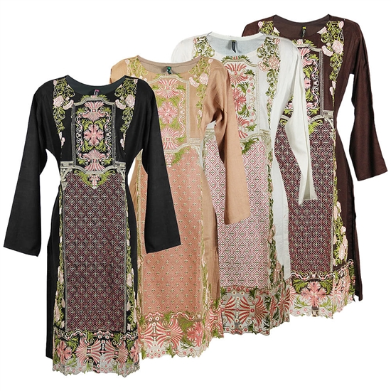 Diamond Embroidered Floral Crest Long Sleeve Collarless Kurti Tunic Top