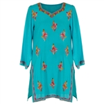 Teal Blue Women's Tunic Top Kurti with Floral Embroidered Body and Borders