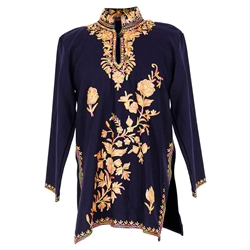 Navy Blue Women's Tunic Top Kurti with Intricitately Embroidered Floral Design