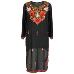 Black Women's Long Tunic Top Kurti with Pink and Red Floral Embroidery