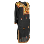 Black Women's Long Tunic Top Kurti with Orange Floral Embroidery