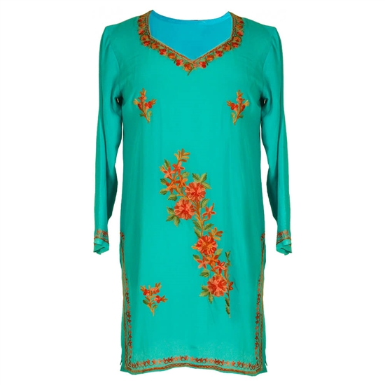 Teal Simple Minimal Embroidery Long Sleeve Women's Tunic Top Kurti
