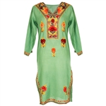 Green Women's Tunic Top Kurti with Chest and Border Embroidery