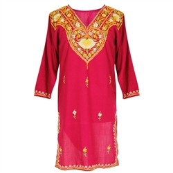Magenta Women's Tunic Top Kurti with Chest and Border Embroidery