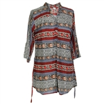 Gray and Red Floral Print Women's Long Sleeve Formal Blouse Kurti with Backtie
