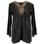 Embroidered Deep Neck Line Women's Black Blouse Kurti Top