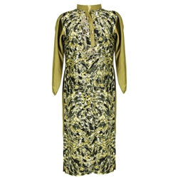 Green Animal Print Women's Long Kurti Top