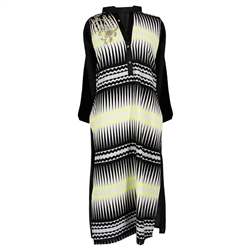 Black and White Print Women's Long Kurti Top