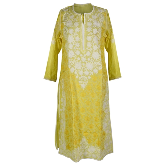 Light Yellow Women's Long Blouse Kurti Top with White Hand Embroidered Floral Patterns Size XL