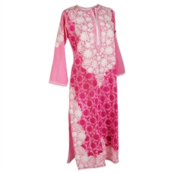 Pink Women's Long Blouse Kurti Top with White Hand Embroidered Floral Patterns Size L