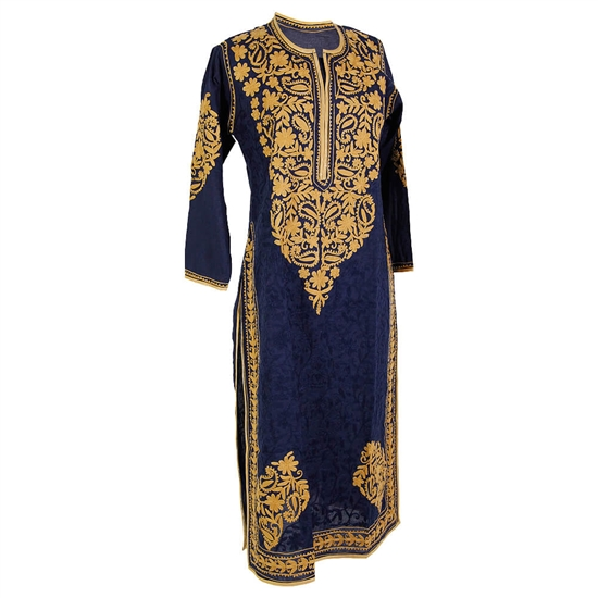 Navy Blue Women's Long Blouse Kurti Top with Hand Embroidered Floral Patterns Size L