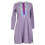 Lavender Women's Casual Kurta Blouse Top with Floral Embroidery
