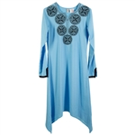 Sky Blue Fishtail Women's Kurta Tunic Top with Dreamcatcher Embroidery Size XS