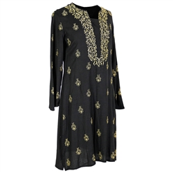 Black and Gold Women's Full Body Embroidered Kurta Tunic Top Size M