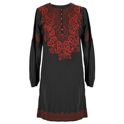 Black and Red Women's Full Body Jacquard Embroidered Kurta Tunic Top Size M