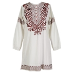 White and Red Women's Full Body Jacquard Embroidered Kurta Tunic Top Size M