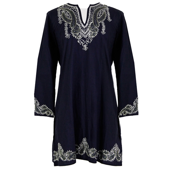 Blue Women's Tunic Top V Neck Kurti with Silver Jacquard Style Embroidery Size L