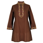 Brown Women's Tunic Top Kurti with Pink and Green Embroidered Neck and Cuffs Size L