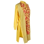 Bright Yellow Women's Long Blouse Kurti with Full Body Floral Embroidery Size L