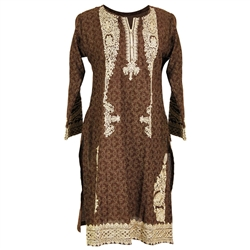 Pattern Print Brown Women's Long Blouse Kurti with Full Body Embroidery Size L