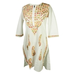 White Women's Long Indian Kurti Tunic Top