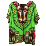 Boy's Lime Green Traditional V-neck Dashiki