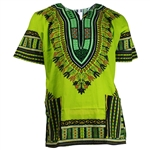 Boy's Green and Blue Traditional V-neck Dashiki