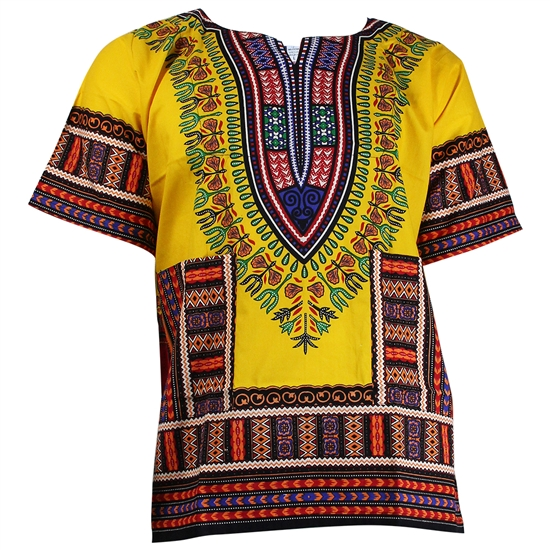 Boy's Red and Yellow Traditional V-neck Dashiki